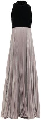 Reem Acra Velvet And Pleated Iridescent Crepe Halterneck Gown