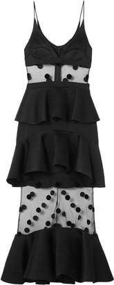David Koma Tiered Satin, Polka-dot Flocked Tulle And Cady Midi Dress