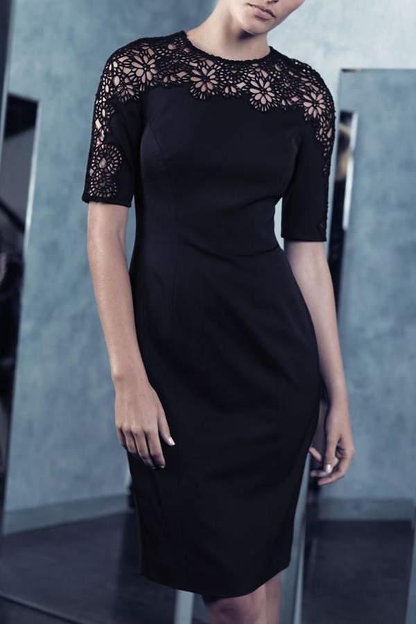 Lela Rose Black Lace Dress
