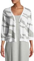 Joan Vass Petite Single-Button 3/4-Sleeve Zebra-Patterned Cardigan
