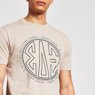 River Island Stone printed slim fit T-shirt
