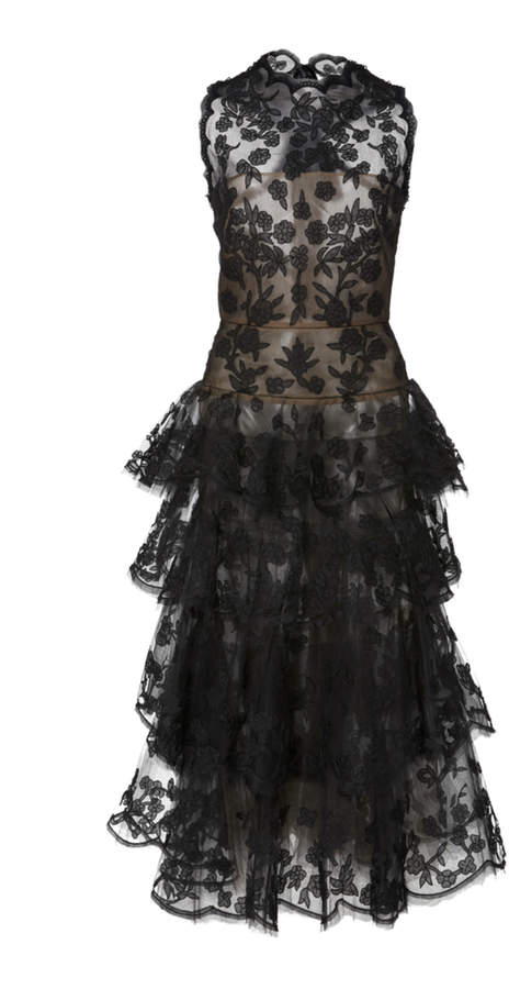 Oscar de la Renta Ruffled Embroidered Floral Tulle Midi Dress