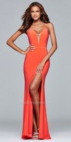 Faviana Plunging High Slit Jersey Prom Dress