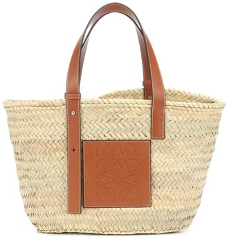 Loewe Medium leather-trimmed basket tote