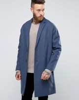 Asos Wool Mix Overcoat with Drop Shoulder In Denim Blue