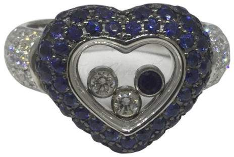 Chopard Happy Diamonds 18k White Gold Heart Shape Ring Size 6.75