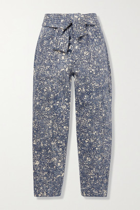 Ulla Johnson Otto Printed High-rise Tapered Jeans - Mid denim