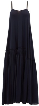 Jil Sander Satin-strap Gathered Maxi Dress - Womens - Navy