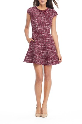 Gal Meets Glam Nell Boucle Knit Fit & Flare Cap Sleeve Dress (Regular & Plus Size)
