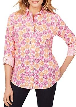 Foxcroft Zoey Cotton Wrinkle-Free Citrus Slices Shirt