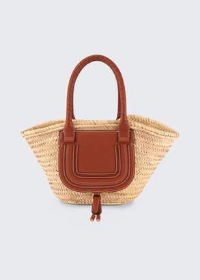 Chloé Marcie Medium Woven Raffia Basket Tote Bag