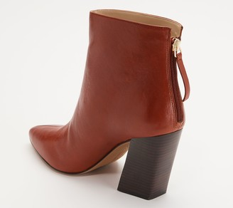 Vince Camuto Leather Block Heel Ankle Boots - Saavie