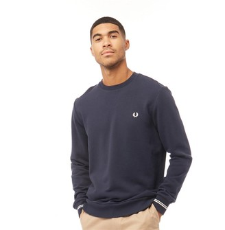 Fred Perry Mens Crew Neck Sweatshirt Washed Navy