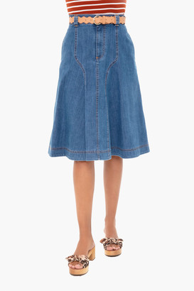 See by Chloe Deep Denim A-Line Skirt