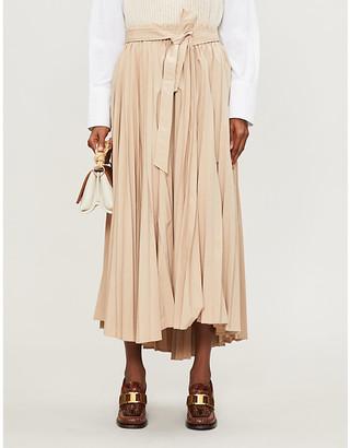 Brunello Cucinelli Pleated woven midi skirt