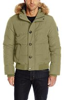 Tommy Hilfiger Men's Arctic Cloth Quilted Snorkel Bomber with Removable Faux Fur Trimmed Hood