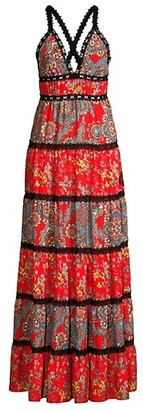 Alice + Olivia Karolina Paisley Tiered Maxi Dress