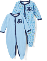 Sweet & Soft Light Blue Cars Footie Set