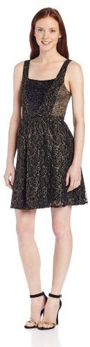 Miss Me Lace Fit and Flare Dress with Sequin V