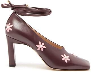 Wandler Isa Flower-embellished Square-toe Pumps - Womens - Burgundy Multi