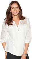 M&Co Lace panel notch neck shirt