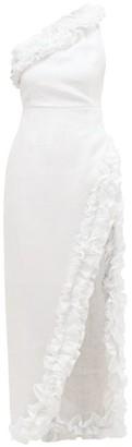 Gül Hürgel Ruffled One-shoulder Linen Dress - White