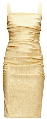 Dolce & Gabbana Square-neck Ruched Silk-blend Lame Dress - Gold