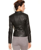 INC International Concepts Jacket, Faux-Leather Ruffle-Trim Motorcycle