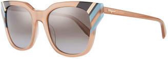 Salvatore Ferragamo Colorblock Square Sunglasses