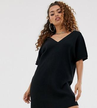 Asos DESIGN Petite short sleeve super soft rib v front v back mini dress