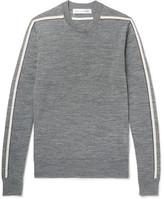 Comme des Garçons SHIRT - Striped Wool Sweater - Gray