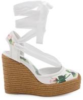 Dolce & Gabbana Rose-Print Platform Espadrille Wedges