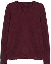 Lanvin Burgundy Distressed Wool Blend Jumper