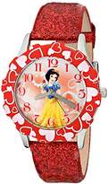 Disney Kids' W001599 Snow White Stainless Steel and Red Glitter Leather Strap Watch, Analog Display, Red Watch