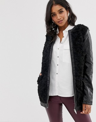 Vila faux fur zip front coat-Black