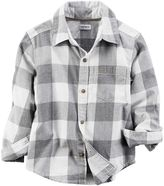 Carter's Toddler Boy Gray Plaid Button-Down Flannel Shirt