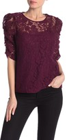 Lace Shirred Elbow Sleeve Top