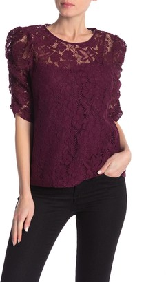 Nanette Lepore Lace Shirred Elbow Sleeve Top