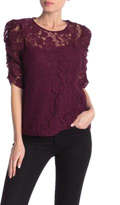 Nanette Nanette Lepore Lace Shirred Elbow Sleeve Top