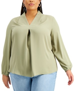 Bar III Trendy Plus Size Pleated Top, Created for Macy's