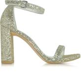 Stuart Weitzman Walkway Chrome Glitter Lace High Heel Sandals