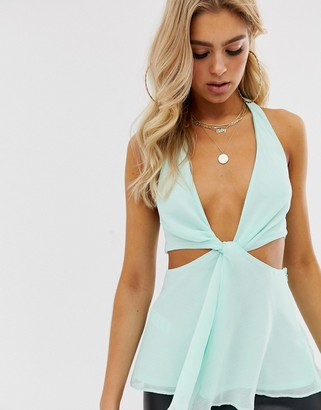 Asos DESIGN knot front halter neck top with cut out detail