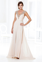 Terani Couture Embellished V-Neck A-Line Dress M3803W