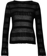 River Island Womens Black sheer panel knit sweater