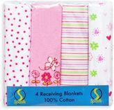SpaSilk Flower Flannel Receiving Blanket (4-Pack)
