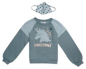 Beautees Big Girls Unicorns Sweater and Matching Mask
