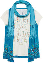 Beautees Short-Sleeve Screen Print Tee with Print Vest and Faux Suede Scarf - Girls 7-16