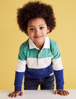 Marks and Spencer Pure Cotton Colour Block Rugby Top (2-7 Yrs)