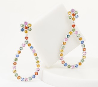 Sterling Silver 11.00 cttw Multi Color Sapphire Earrings