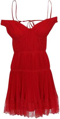 Self-Portrait Self Portrait Dark Red Off Shoulder Pleated Chiffon Mini Dress